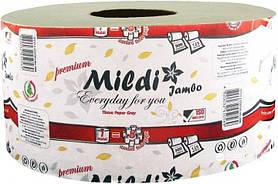 Туалетний папір Mildi Premium Jambo одношарова 195х90 мм, 900 відривів, 125 метрів, сіра