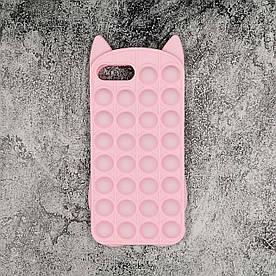 Чехол антистресс Pop It для iPhone 7 Plus  силиконовый, Котик, Розовый