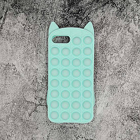 Чехол антистресс Pop It для iPhone 7 Plus  силиконовый, Котик, Бирюзовый