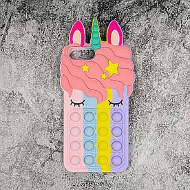 Чехол антистресс Pop It для iPhone 7 Plus  силиконовый, Единорог