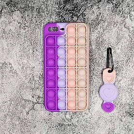 Чехол антистресс Pop It для iPhone 7 Plus  силиконовый, Фиолетовый + брелок для Airtag