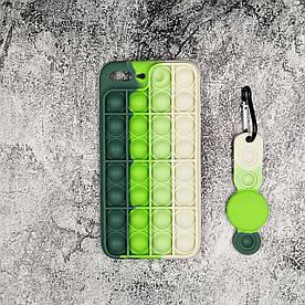 Чехол антистресс Pop It для iPhone 7 Plus  силиконовый, Светло-зеленый + брелок для Airtag
