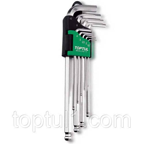 Набір шестигранних ключів з кулею TOPTUL 1,5-10мм 9ед. довгих GAAL0916