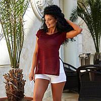 Легкая женская однотонная футболка с разрезами, фото 1