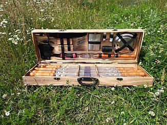 """Набір з 8 шампурів для м'яса і люля-кебаб """"Master"""" (730х15х3 мм) + комплект аксесуарів в дерев'яному кейсі"""