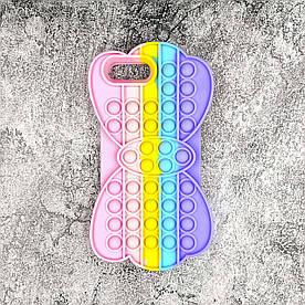 Чохол антистрес Pop It для iPhone 6 Plus  силіконовий, Райдужна метелик