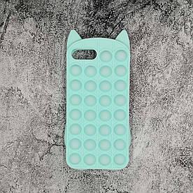 Чохол антистрес Pop It для iPhone 6 Plus силіконовий, Котик, Бірюзовий