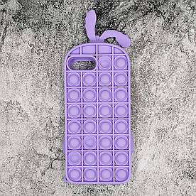 Чохол антистрес Pop It для iPhone 6 Plus  силіконовий, Кролик, Фіолетовий