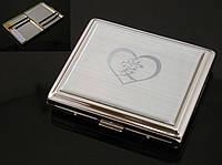 """Портсигар 80058 """"I Love You"""" д.18 KS сигарет, металл, хром, глянец, резинка"""