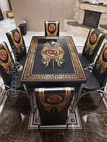 Комплект кухонный стол и 4 стулья каленое стекло 110*70*150см Турция