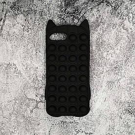 Чехол антистресс Pop It для iPhone 6S Plus  силиконовый, Котик, Черный