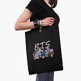 Эко сумка шоппер черная БТС (BTS) (9227-3256-BK)  41*35 см