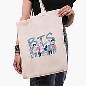 Эко сумка шоппер бежевая БТС (BTS) (9227-3265)  41*35 см