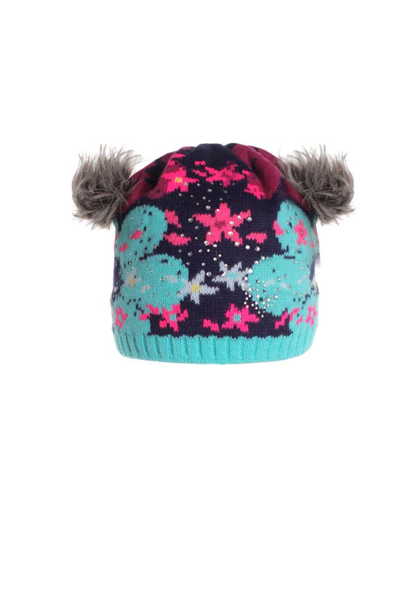 Оригинальная красивая вязанная шапочка с меховыми ушками.
