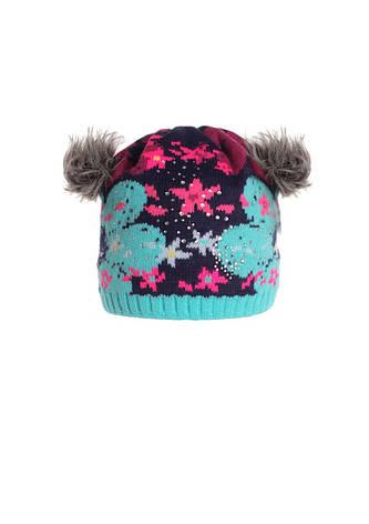 Оригинальная красивая вязанная шапочка с меховыми ушками., фото 2