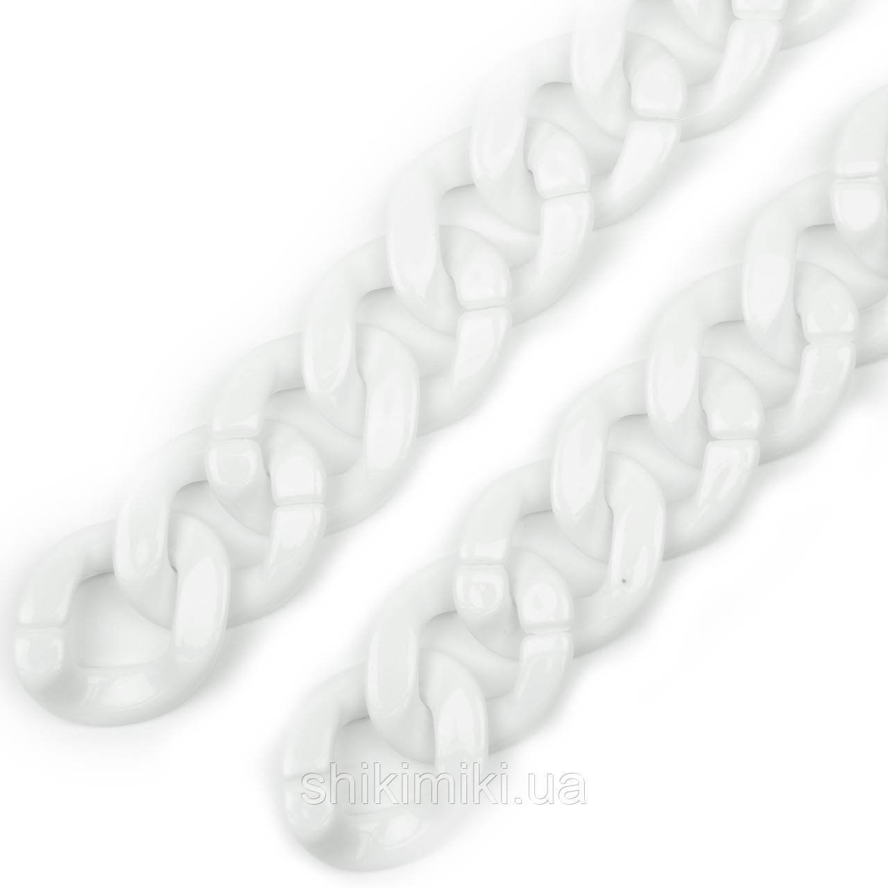 Звено акриловое для сборной цепи (39*32), цвет белый глянцевый
