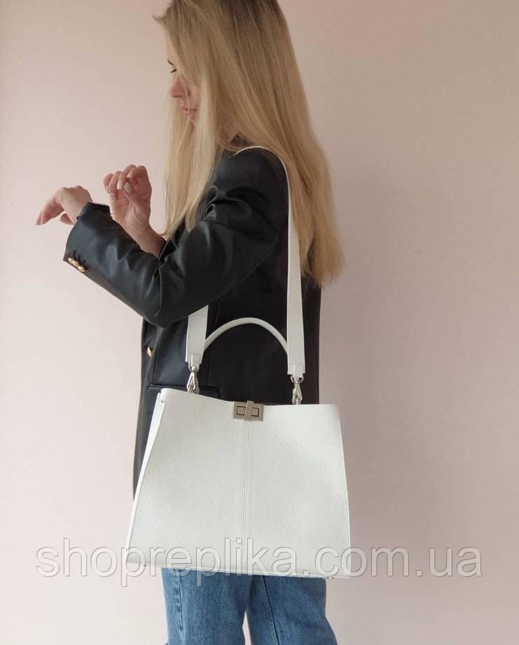 Большая белая кожаная сумка  Италия made in Italy через плечо , сумка кроссбоди вместительная модная сумка