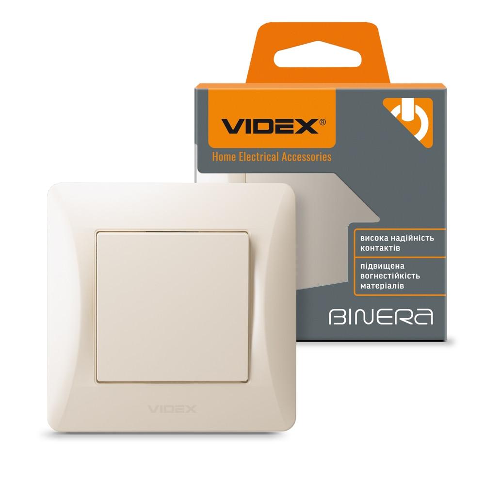 Вбудований вимикач одноклавішний VIDEX BINERA кремовий VF-BNSW1-CR