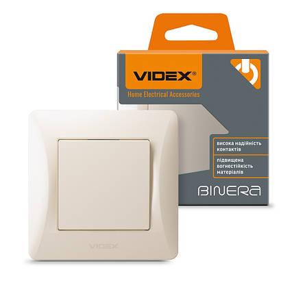 Вбудований вимикач одноклавішний VIDEX BINERA кремовий VF-BNSW1-CR, фото 2