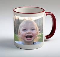 Чашка белая керамическая + цветная ручка и кайма