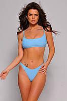 Жіночий купальник роздільний блакитний жатка