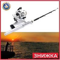 Карманная мини удочка-ручка для рыбалки Pocket Pen FishingRod маленькая складная удочка спининг с катушкой