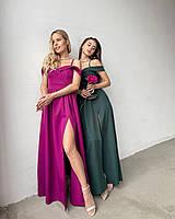 Елегантне вечірнє плаття максі з розрізом
