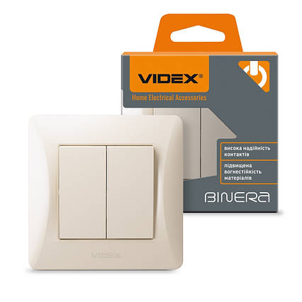 Выключатель двухклавишный встроенный VIDEX BINERA кремовый VF-BNSW2-CR, фото 2
