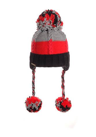 Детская разноцветная вязанная шапочка с помпоном, Польша., фото 2