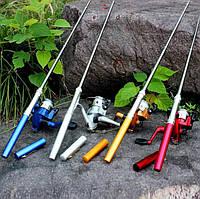 Карманная удочка-ручка для рыбалки с катушкой Pocket Pen Fishing Rod складной походной мини спининг