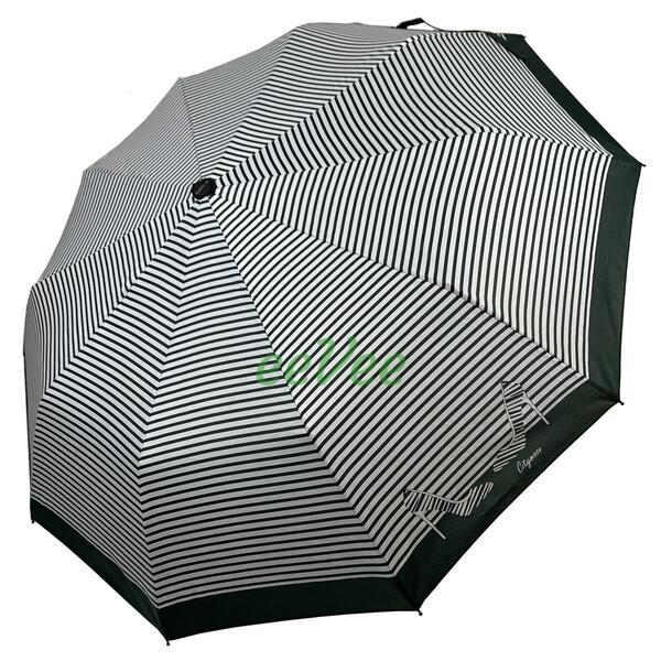 Зонт жіночий 10 спиць напівавтомат Calm Rain в смужку з туфельками Темно-зелений купол 102 см (02201)