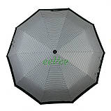 Зонт жіночий 10 спиць напівавтомат Calm Rain в смужку з туфельками Темно-зелений купол 102 см (02201), фото 2