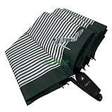 Зонт жіночий 10 спиць напівавтомат Calm Rain в смужку з туфельками Темно-зелений купол 102 см (02201), фото 5
