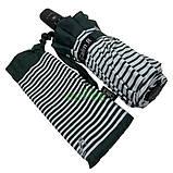Зонт жіночий 10 спиць напівавтомат Calm Rain в смужку з туфельками Темно-зелений купол 102 см (02201), фото 7