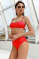 Жіночий купальник роздільний червоний