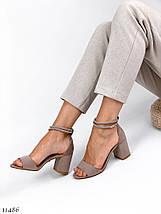Босоножки на каблуке бежевые 11486 (ЯМ), фото 2