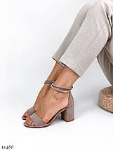 Босоножки на каблуке бежевые 11486 (ЯМ), фото 3