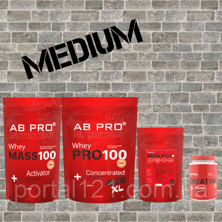"""Комплект """"Набор мышечной массы """"MEDIUM""""  (гейнер, протеин, аминокислотный комплекс всаа, креатин)"""