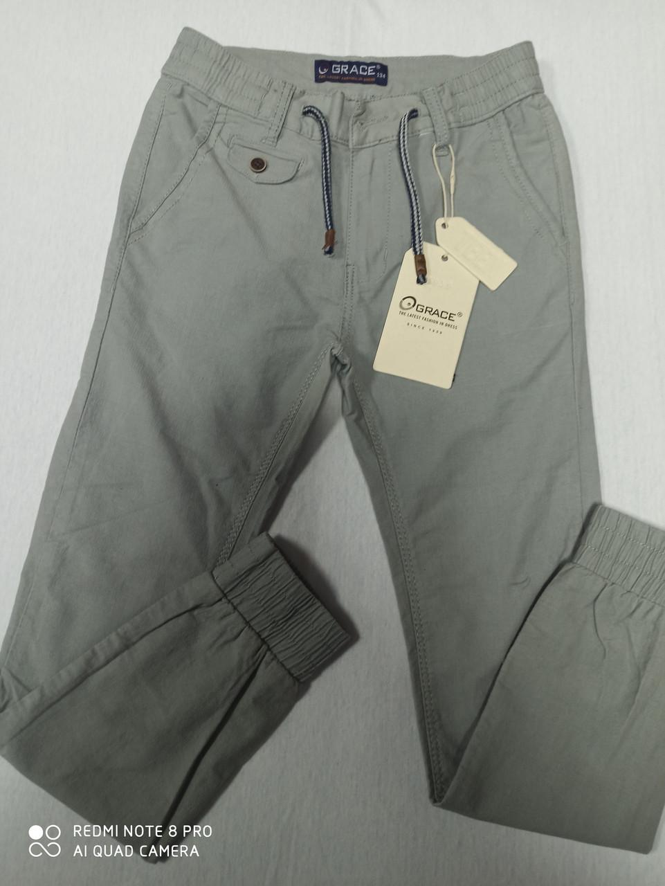 Штани підліткові стрейчеві легкі сірого кольору для хлопчика. Розміри 134.140.146.152.158.164 зростання.