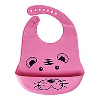 Силіконовий слюнявчик з кишенею Тигрик (рожевий)