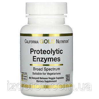California Gold Nutrition, Протеолитические ферменты широкого спектра, Proteolytic Enzymes, 90 капсул