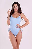 Жіночий купальник злитий цілісний блакитний