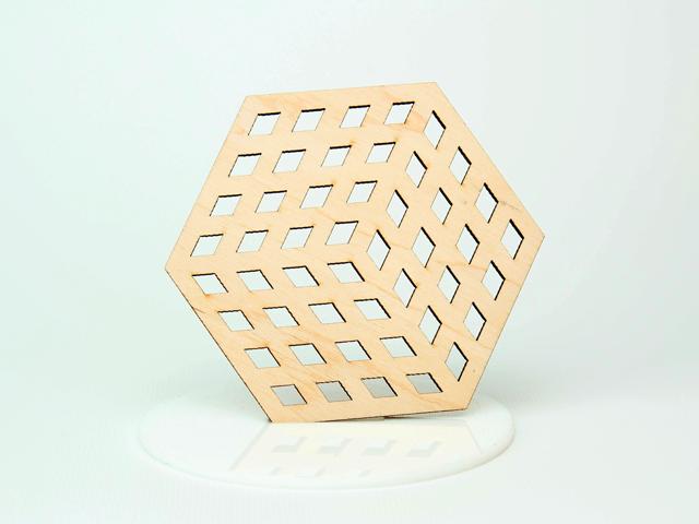 Шестикутні підставки під чашку з фанери з оригінальним дизайном