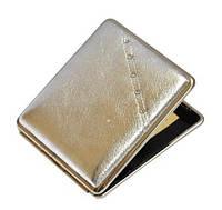 Портсигар 80206 д.18 KS сигарет, металл, кожа серебро/стразы белые/золото