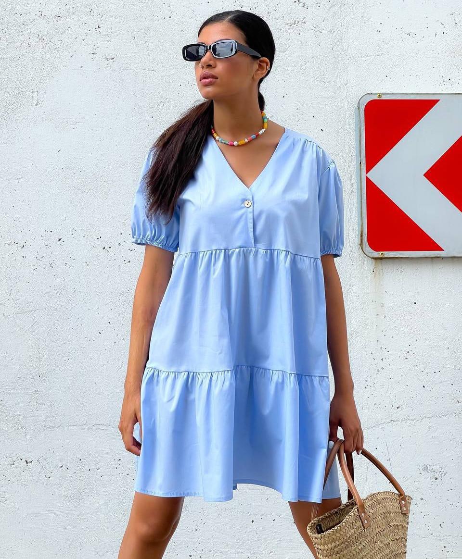 Котонове літнє плаття вільного крою з пишними рукавами