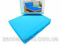 Комплект махровая простынь на резинке 220*240+25 см и 2 наволочки 50*70см цвет голубой
