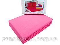Комплект махровая простынь на резинке 220*240+25 см и 2 наволочки 50*70см цвет розовый