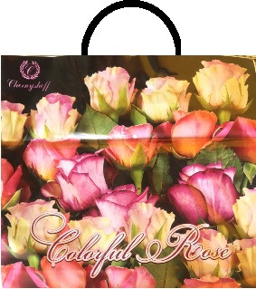 Пакет петля 33*37 Троянди на чорному