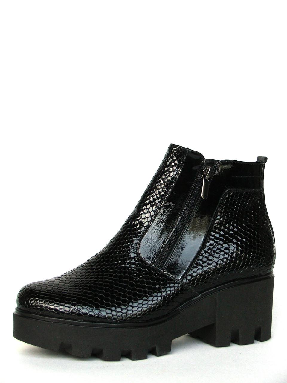 """Женские ботинки """"Две молнии на тракторной подошве"""" из фактурной лаковой кожи"""