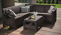 Набор пластиковой садовой мебели (угловой диван+столик) Keter BAHAMAS RELAX коричневый